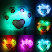 Footprint Shaped Glowing LED Pillow,7 Colour Changing Light Up Soft Cushion,Valentine's Day Gift Kid Toy,Tuscom