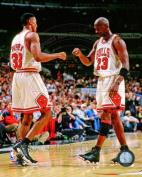 Michael Jordan and Scottie Pippen Chicago Bulls 1998 NBA Action Photo 8x10