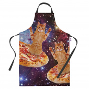 Pizza Space Cat Funny Aprons for Women Novelty Apron Kitchen Cooking Baking Gifts
