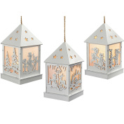 WeRChristmas Pre-Lit Christmas Hanging Lantern, Wood, 12 cm - White, Set of 3
