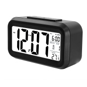 Soyion Alarm Clock, 13cm LED Clock Slim Digital Alarm Clock Travel Alarm Clock with Calendar, Digital Snooze Table Clock with Sensor Light and Date Temperature Display