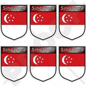 "SINGAPORE Singaporean Shield 40mm (1,6"") Mobile, Cell Phone Vinyl Mini Stickers, Decals x6"