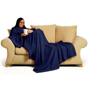 Snug~Rug 150cm x 210cm Adult Deluxe Coral The Blanket with Sleeves Fleece, Navy Blue