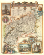 Gloucetsershire Reproduction Antique Map, Retro Reproduction Gloucetsershire Map, Thomas Moule Maps