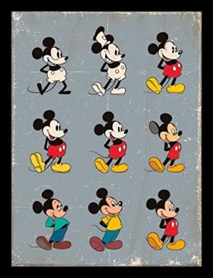 "Mickey Mouse ""Evolution"" Framed Print, Multi-Colour, 30 x 40 cm"