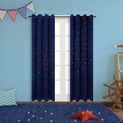 Blackout Curtains for Star Wars Themed Kids Room, Anjee 2 Panels Grommet Thermal Insulated Window Curtains with Die Cut Twinkle Star for Bedroom and Toys Room