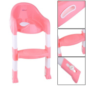 Kid Training Toilet Potty Trainer Seat Chair Toddler W/Ladder Step Up Stool Pink
