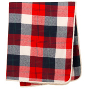 Camp River Rock Red and Navy Blue Plaid Crib Quilt by Glenna Jean