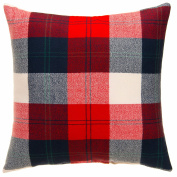 Camp River Rock Navy and Red Plaid Throw Pillow by Glenna Jean