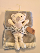 Chick Pea White and Grey Baby Security Blanket 2Pc Set