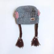 Baby Toddler Kids Girl Braid Bow-knotWinter Warm Hat Cap