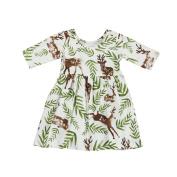 Girls Princess Dresses, Kintaz Toddler Baby Short Sleeve Floral Deer Pageant Dresses