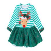 Kintaz Toddler Kids Baby Girls Christmas Deer Striped Princess Long Sleeve Tulle Tutu Dress