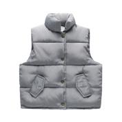 Kintaz Kids Baby Girls Boys Puffer Button Vest Waistcoat Jacket Autumn Winter Warm Flare Sleeve Coat