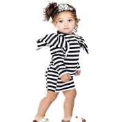 Kintaz Toddler Baby Kids Girls Princess Long Sleeve Striped Puff Shoulder Dress Clothes Outfits