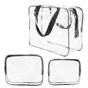 3Pcs Crystal Clear PVC Travel Bag Kit for Men Women, Waterproof Vinyl Packing Organiser Storage Bag with Zipper Closure and Handle Straps, Cosmetic Pouch, Nappy Bag, Handbag Pencil Bag Black