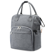 Nappy Bag, GySue Large Capacity Multi-Function Durable Smart Nappy Waterproof Travel Backpack for Baby Care Stylish Anti-theft Roomy Bag with Insulated Bottle Pockets, Changing Pad-Grey