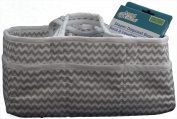Trend Lab Foldable Nappy Storage Caddy, White, Dove Grey Chevron Pattern, with Bonus Disposable Nappy Bags
