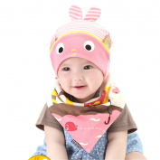Multifit Cute Cartoon Baby Hat and Bibs Set Toddler Cotton Gift Hat Set