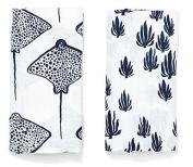 Lewis 2-Piece Organic Cotton Muslin Burp Cloths Seaweed and Stingray Prints 100% GOTS Certified Organic Cotton Muslin, Denim