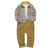 TRENDINAO Baby Kids Toddler Boy Clothes Soft Casual Tops+Checked Shirt+Solid Pants Outfit Set