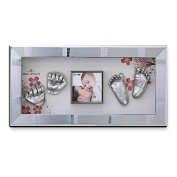 Momspresent Baby Hands and Foot 3D Casting Print DIY Kit with Silver Frame1