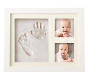 Sunmery Babyprints Newborn Baby Handprint and Footprint Photo Frame Kit for Boys and Girls, A Perfect Baby Shower Gift,Wood Frames with Premium Clay