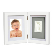 Newborn Baby Handprint Footprint Photo Frame Kit,Birthday Presents,Baby Shower Gift for Boys and Girls,Perfect Keepsakes for Table Decorations,White Frames with Premium Clay