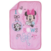 Disney Minnie Mouse All About Bows Mink Plush Baby Blanket
