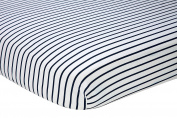 Nautica Kids Nursery Separates Striped 100% Cotton Fitted Crib Sheet, Navy/White