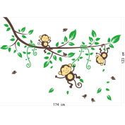 Wall Sticker,BCDshop Tree Monkey Jungle Kids Child Baby Nursery Room Wall Mural Decal Decor Removable