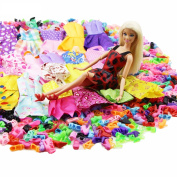 24 Pcs = 12 x Handmade Doll Clothes Dresses + 12 x Shoes High Heels Accessories For Barbie Doll