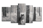 5 Panel Wall Art Picture Watchful Wolf Eyes In The Wild Prints On Canvas The Animal Pictures Oil For Home Modern Decoration Print Decor