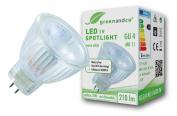 greenandco® LED spot replaces 20-30 Watt GU4 MR11 halogen spotlight, 3W 255 lumen 3000K warm white 38° 12V AC/DC, no flicker, not dimmable