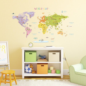 Decowall DMT-1306N Colourful World Map Kids Wall Stickers Wall Decals Peel and Stick Removable Wall Stickers for Kids Nursery Bedroom Living Room