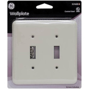52468 Wall Plate Double Switch Vinyl Coated Formal Ivory