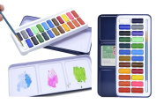 24 Watercolour Paint Set Portable Travel Water Colours Set Includes Watercolour Brush & Mixing Paint Palette