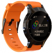 Outsta For Garmin Forerunner 225 Silicone Replacement Wrist Watch Band + Case Cover Orange