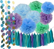 Under the Sea Party/Mermaid Party Decorations Teal Purple Blue Mint Baby Shower Decorations Tissue Pom Poms First Birthday Decorations Purple Bridal Shower Decorations Mermaid Party Supplies