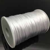 FQTANJU White 2 mm x 100 yards Satin Nylon Trim Cord, Rattail, Chinese Knot, Kumihimo, Premium Quality