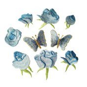 9pcs Blue Small Rose flower butterfly embroidery Iron On Patches