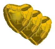 3 pc - 46cm Solid Gold Heart Balloon Wedding Baby Bridal Shower Birthday Luau