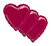 3 pc - 46cm Solid Burgundy Heart Balloon Wedding Baby Bridal Shower Birthday Luau