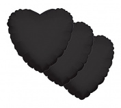 3 pc - 46cm Solid Black Heart Balloon Wedding Baby Bridal Shower Birthday Luau