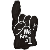 """Football Balloons """"We are #1!"""" 25cm Pre-Inflated with Stick (Black) Pkg/12"""
