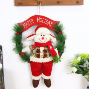Snowfoller Xmas Door Wreath Christmas Garland Party Door Decor Garland Cute Santa Claus Christmas Decoration