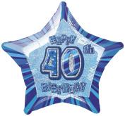 50cm Foil Glitz Blue Happy 40th Birthday Balloon