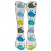 Colourful Whale Knee High Graduated Compression Socks For Women And Men - Best Medical, Nursing, Travel & Flight Socks - Running & Fitness