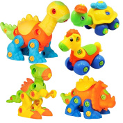 Take Apart Dinosaur Horse Turtle with Drill, Construction Engineering STEM Learning Toy Building Play Set for Kids Toddlers, Pack of 5 Animails
