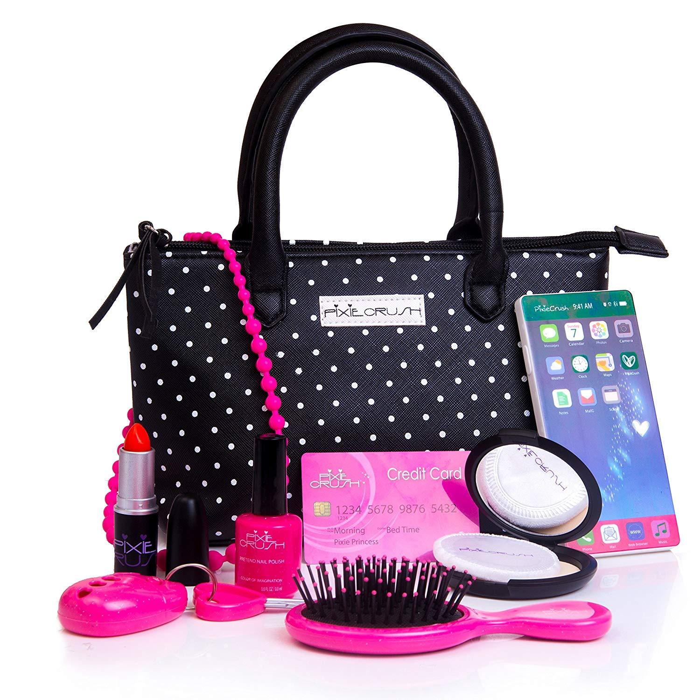 8c19dbf465ae PixieCrush Pretend Play Kid Purse Set for Girls with Handbag, Pretend Smart  Phone, Keys, Pretend Makeup, Lipstick – Interactive & Educational Toy